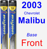 Front Wiper Blade Pack for 2003 Chevrolet Malibu - Hybrid