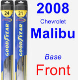Front Wiper Blade Pack for 2008 Chevrolet Malibu - Hybrid
