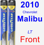 Front Wiper Blade Pack for 2010 Chevrolet Malibu - Hybrid