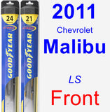 Front Wiper Blade Pack for 2011 Chevrolet Malibu - Hybrid
