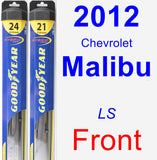 Front Wiper Blade Pack for 2012 Chevrolet Malibu - Hybrid