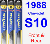 Front & Rear Wiper Blade Pack for 1988 Chevrolet S10 - Hybrid