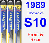 Front & Rear Wiper Blade Pack for 1989 Chevrolet S10 - Hybrid