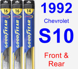 Front & Rear Wiper Blade Pack for 1992 Chevrolet S10 - Hybrid