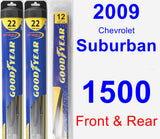 Front & Rear Wiper Blade Pack for 2009 Chevrolet Suburban 1500 - Hybrid