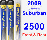 Front & Rear Wiper Blade Pack for 2009 Chevrolet Suburban 2500 - Hybrid