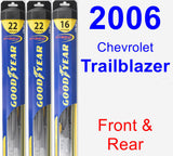 Front & Rear Wiper Blade Pack for 2006 Chevrolet Trailblazer - Hybrid