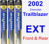 Front & Rear Wiper Blade Pack for 2002 Chevrolet Trailblazer EXT - Hybrid
