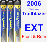 Front & Rear Wiper Blade Pack for 2006 Chevrolet Trailblazer EXT - Hybrid