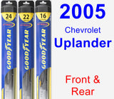 Front & Rear Wiper Blade Pack for 2005 Chevrolet Uplander - Hybrid