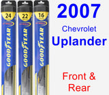 Front & Rear Wiper Blade Pack for 2007 Chevrolet Uplander - Hybrid