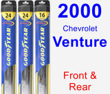 Front & Rear Wiper Blade Pack for 2000 Chevrolet Venture - Hybrid
