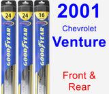 Front & Rear Wiper Blade Pack for 2001 Chevrolet Venture - Hybrid