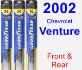 Front & Rear Wiper Blade Pack for 2002 Chevrolet Venture - Hybrid