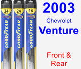 Front & Rear Wiper Blade Pack for 2003 Chevrolet Venture - Hybrid
