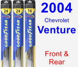 Front & Rear Wiper Blade Pack for 2004 Chevrolet Venture - Hybrid