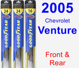 Front & Rear Wiper Blade Pack for 2005 Chevrolet Venture - Hybrid