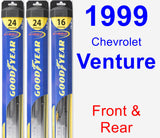 Front & Rear Wiper Blade Pack for 1999 Chevrolet Venture - Hybrid