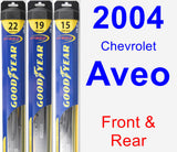 Front & Rear Wiper Blade Pack for 2004 Chevrolet Aveo - Hybrid