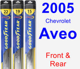 Front & Rear Wiper Blade Pack for 2005 Chevrolet Aveo - Hybrid