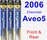 Front & Rear Wiper Blade Pack for 2006 Chevrolet Aveo5 - Hybrid
