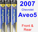 Front & Rear Wiper Blade Pack for 2007 Chevrolet Aveo5 - Hybrid