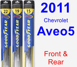 Front & Rear Wiper Blade Pack for 2011 Chevrolet Aveo5 - Hybrid