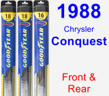 Front & Rear Wiper Blade Pack for 1988 Chrysler Conquest - Hybrid