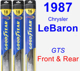 Front & Rear Wiper Blade Pack for 1987 Chrysler LeBaron - Hybrid