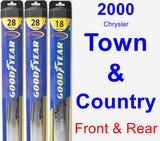 Front & Rear Wiper Blade Pack for 2000 Chrysler Town & Country - Hybrid