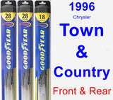 Front & Rear Wiper Blade Pack for 1996 Chrysler Town & Country - Hybrid