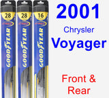 Front & Rear Wiper Blade Pack for 2001 Chrysler Voyager - Hybrid