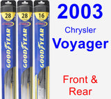 Front & Rear Wiper Blade Pack for 2003 Chrysler Voyager - Hybrid