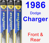 Front & Rear Wiper Blade Pack for 1986 Dodge Charger - Hybrid