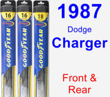 Front & Rear Wiper Blade Pack for 1987 Dodge Charger - Hybrid
