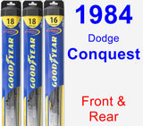 Front & Rear Wiper Blade Pack for 1984 Dodge Conquest - Hybrid