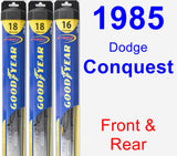Front & Rear Wiper Blade Pack for 1985 Dodge Conquest - Hybrid