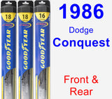 Front & Rear Wiper Blade Pack for 1986 Dodge Conquest - Hybrid