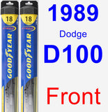 Front Wiper Blade Pack for 1989 Dodge D100 - Hybrid