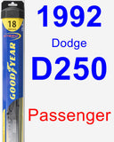 Passenger Wiper Blade for 1992 Dodge D250 - Hybrid