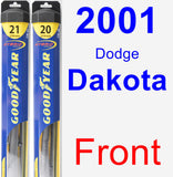 Front Wiper Blade Pack for 2001 Dodge Dakota - Hybrid