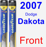 Front Wiper Blade Pack for 2007 Dodge Dakota - Hybrid