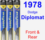 Front & Rear Wiper Blade Pack for 1978 Dodge Diplomat - Hybrid