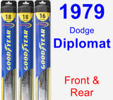 Front & Rear Wiper Blade Pack for 1979 Dodge Diplomat - Hybrid