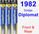 Front & Rear Wiper Blade Pack for 1982 Dodge Diplomat - Hybrid