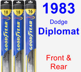 Front & Rear Wiper Blade Pack for 1983 Dodge Diplomat - Hybrid
