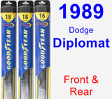 Front & Rear Wiper Blade Pack for 1989 Dodge Diplomat - Hybrid