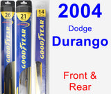Front & Rear Wiper Blade Pack for 2004 Dodge Durango - Hybrid