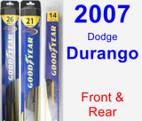 Front & Rear Wiper Blade Pack for 2007 Dodge Durango - Hybrid