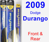 Front & Rear Wiper Blade Pack for 2009 Dodge Durango - Hybrid